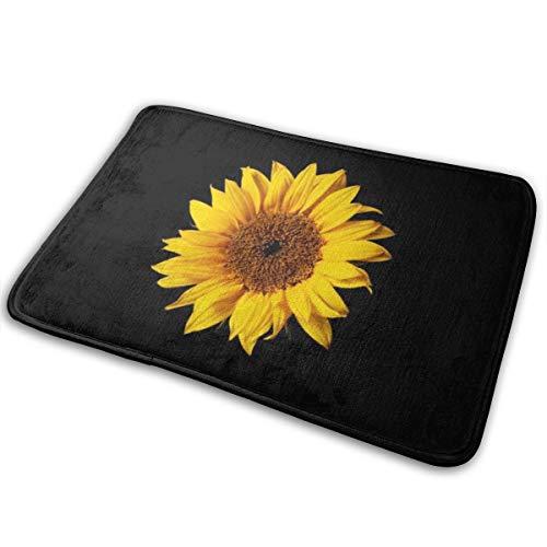 HUNANing Alfombra de baño (30 x 18 Pulgadas) Amarillo Girasol sobre Flores Negras solares, alfombras Extra Suaves y absorbentes, Lavable a máquina/Seca, Alfombrillas para bañera, Ducha y baño