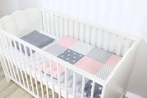 ULLENBOOM ® Babybettwäsche Set Rosa Grau - 2 Teile (komplett): Baby Bettwäsche 80x80 cm & Kissenbezug 35x40 cm, Baby Bettset für das Babybett aus 100% Baumwolle