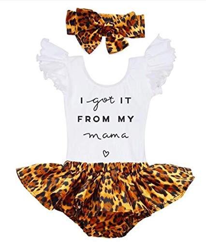 Longfei Mama's Bestie mameluco mono volantes leopardo pantalones cortos escritos fondos banda para el pelo trajes ropa
