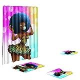 Xmiral Duschvorhänge Badezimmerteppich U-Pad über WC-Sitzkissen 4 Stück Satz Afrikanisches Mädchen Serie(N)