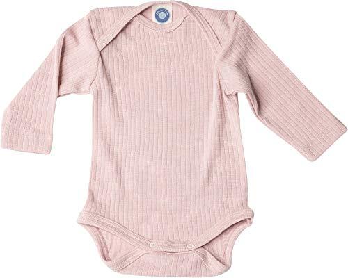 Cosilana, Baby Body Langarm, KBA Baumwolle, kbT Wolle, Seide (62/68, Pink meliert)