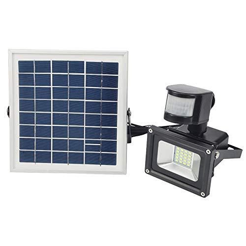 lembrd Solar schijnwerper met bewegingsmelder, 10W LED-schijnwerper zonnelamp IP65 waterbestendig aluminium koud wit - voor tuin, garage, erf (10W koud wit)