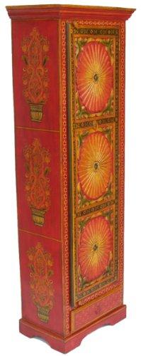 Guru-Shop Geschilderde Kast, Garderobe, Halkast - Model 6, Rood, 182x60x38 cm, Garderobekasten