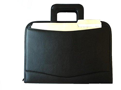 ImpecGear Zippered Executive Ring Binder Portfolio Padfolio, W/ Smart Handle, Build-in Calculator (Black)
