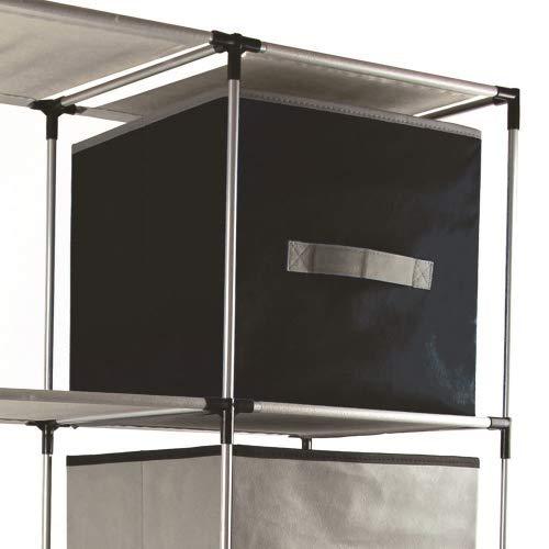 NAWA Home & Work 4 Cajas Almacenamiento de Tela Plegables Cajas Organizadores de Cajones para Ropas Juguetes de 30x30x30cm, 2 Gris y 2 Negras. Mod. OR4004