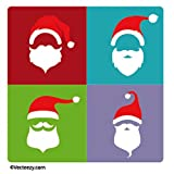 Père Noël Poster-Sticker Autocollant - Styles De Barbe Tendance, Pop Art (9 x 9 cm)