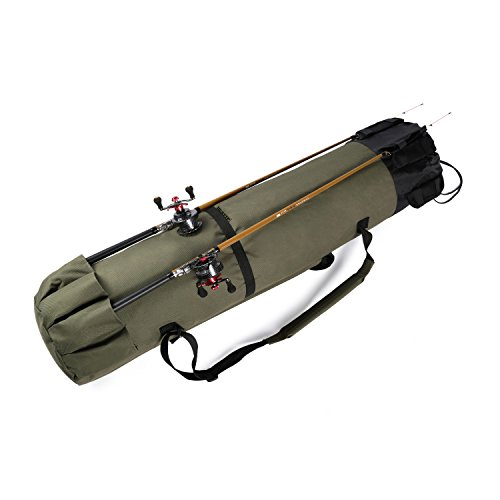 Hunvp Fishing Rod Reel Case Bag Organizer Travel Carry Case Carrier Holder Pole Tools Storage Bags,Army Green (Style A)