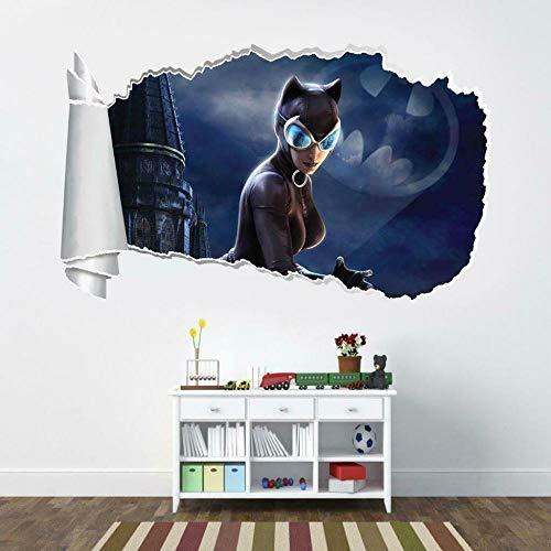 YJYG Pegatinas de pared Catwoman Movie Hero 3D Agujero rasgado Etiqueta de la pared Calcomanía Art Deco Halloween gift 50 * 70cm