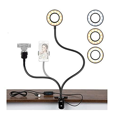 Aro de Luz LED 3.5'Anillo de Luz con Soporte de Brazo Flexible Regulables Ring Ligh con 3 Modos de iluminación 10 Niveles de Brillo para Selfie, Maquillaje, Youtube, TIK Tok,Compatible con Smartphones