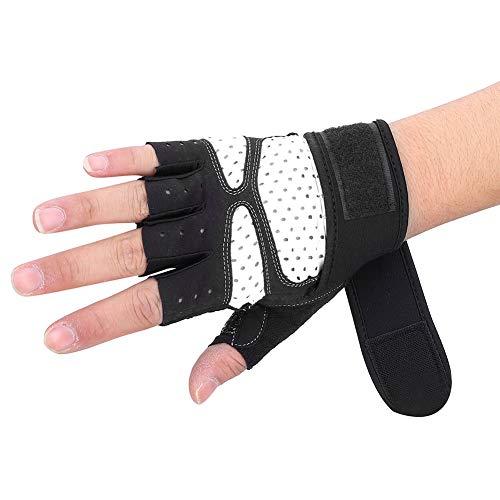 LFHH Guantes de gimnasio para levantamiento de pesas con muñequera de apoyo para entrenamiento, fitness, ejercicio, deportes, protección completa de la palma (gris claro XL)