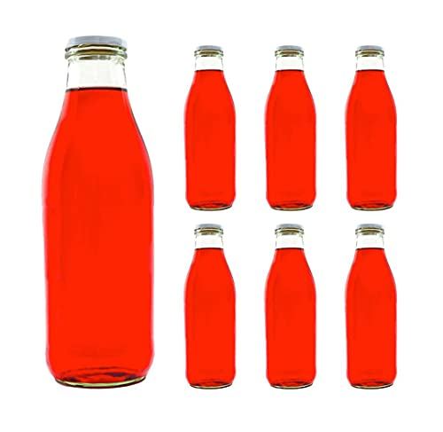 6botellas de vidrio, botellas de leche de cristal, en tamaños de 200ml / 250ml / 500ml / 1000ml con tapa de rosca, de slkfactory., cristal, blanco, 1000 ml