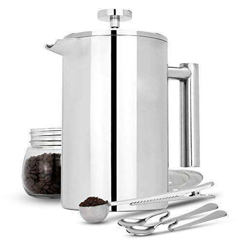Maison & White Französisch Presse Cafetiere | Edelstahl Kaffeepresse Maker | KOSTENLOSE Extra Filter / Messlöffel / Beutelklammer | Doppelwandige Isolierung | 7er Kaffee Geschenkset 1500ml
