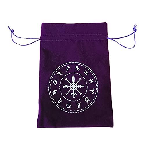 タロットバッグ、タロットポーチ タロットカードホルダーバッグ、ドローストリングジュエリーポーチ 両面ベルベットドローストリングバッグ厚くする、12星座のシンボル、カードボードゲーム刺繍巾着ポーチ