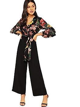 SweatyRocks Women s Wrap Deep V Neck High Waist Long Pants Romper Jumpsuit Black M