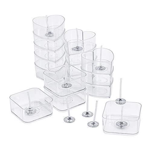 PandaHall Elite 40 Stück Kunststoff Klarer Teelichtbecher Halter Herz Quadrat Teelichthalter Kerzenwachs Dosen Gläser Hüllen mit 100 Stück 25mm Kerzendochte für DIY Kerzenherstellung