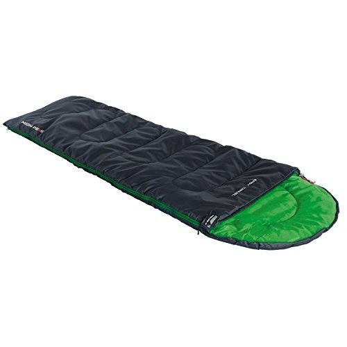 High Peak Easy Travel Sleepingbag Unisex-Adult, Anthracite/Green, 220x75/50 cm