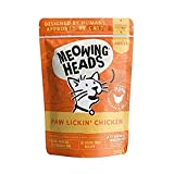 Meowing Heads Comida Húmeda para Gatos - Paw Lickin' Chicken - Pollo y ternera sin aromas artificiales, 93% Natural, Receta sin cereales (10 x 100 g)
