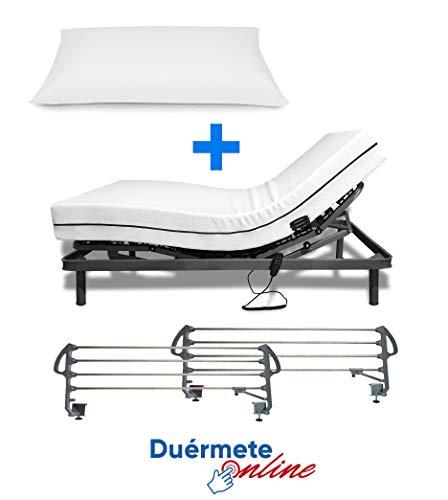 Duermete Cama Eléctrica Articulada Reforzada 5 Planos + Colchón Medic Visco + Almohada Tacto Sedoso + Barandillas, Gris, 90x190