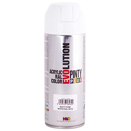 Pintyplus Evolution Spray Paint - 11oz, Fast Drying, Solvent Based, Acrylic Spray Paint. Multiple Applications Including Wood, Stone, Cardboard, Paper, & Cardboard. RAL 9010 Matt Pure White