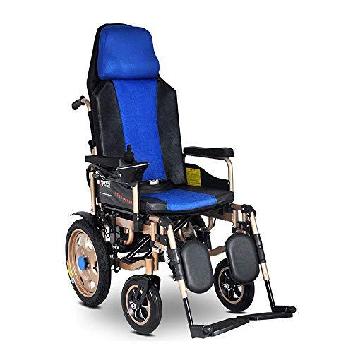FHISD - Silla de Ruedas eléctrica Ligera para discapacitados/Ancianos, aleación de Scooter de Aluminio Plegable con reposacabezas, cinturón de Seguridad, Respaldo