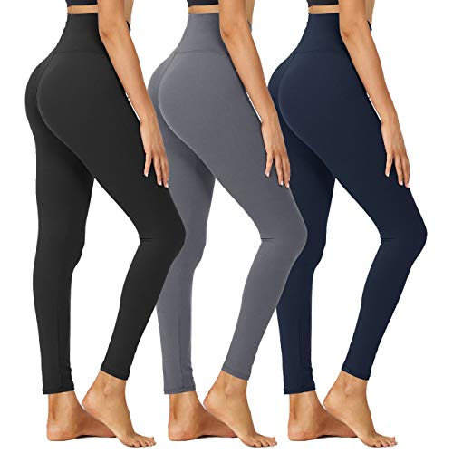 HIGHDAYS High Waisted Leggings for Women - Tummy Control 4 Way Stretch Pants for Athletic Workout Yoga (Black,Dark Grey,Navy Blue, Large-X-Large)