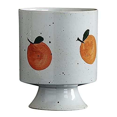 VAUZHI Taza de café naranja hecha a mano, taza de té de cerámica, tazas divertidas para niñas, taza con leche, copa de cerámica, taza de fruta pintada a mano, 8 onzas