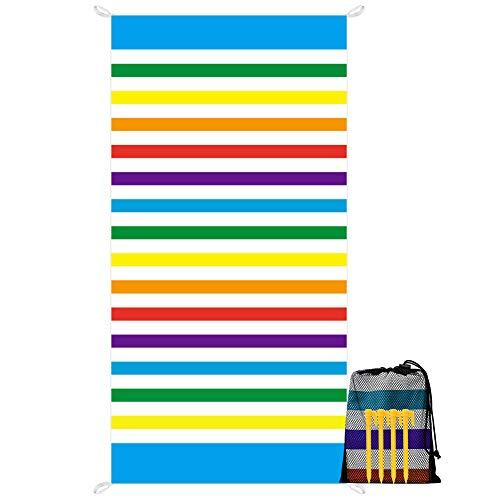 YZCX Toalla de Playa de Microfibra Secado Rápido Absorbente Manta de Playa Extra Grande 180x90cm Deportes Toalla con Clavos de Tierra y Bolsa para Viajes Nadar Playa Piscina, Multicolor