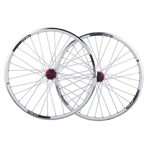 26 inch Bicycle Wheelset, Double Wall Aluminum Alloy Hybrid Disc Type V Brake Quick Release Shield Bearing 8 9 10 Speed Mountain Bike (Color : White)