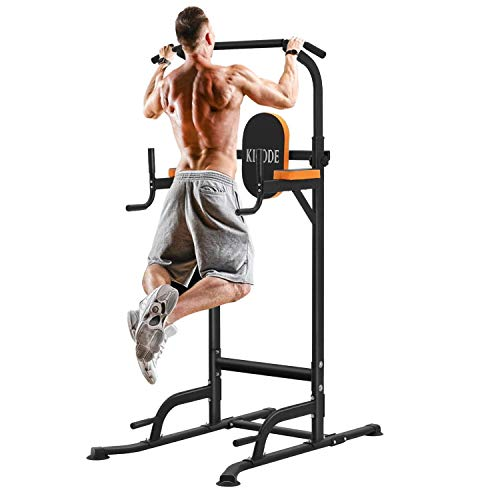 Kicode Power Tower Dip Station, Exercise Equipment for Home Workouts, Adjustable Height Standing Pull Up Bar Strength Training Workout Equipment for...