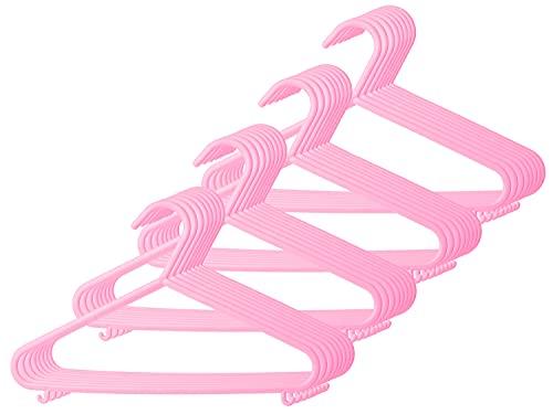 Bieco Perchas para niños, 32 unidades, color rosa, longitud aprox. 30 cm, perchas de plástico para ropa de bebé, organizador para el armario, perchas para bebé, perchas para ropa de bebé