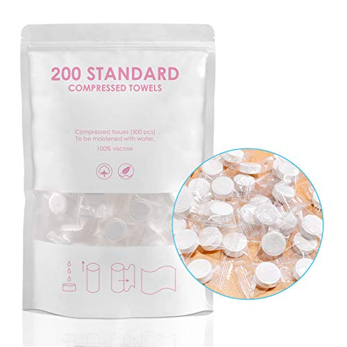 200pcs Mini Compressed Towel, Magic Disposable Face Compressed Towels, Soft Compressed Hand Wipe, Portable Compressed Coin Tissue for Travel/Home/Outdoor Activities