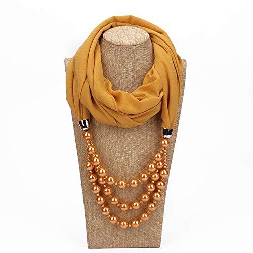Fashion Schal Nationale Art Schal Imitation Perlenkette Schmuck-Folk-Custom Sonnenschutz Neck Zubehör, Geeignet for Frau (2 Stück) (Color : Apricot)