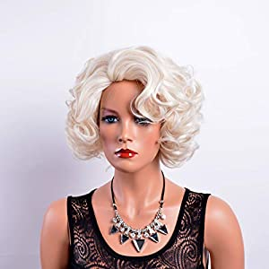 GNIMEGIL Short Big Curly Wavy Layered Wigs for Women Cosplay Party Marilyn Costume Synthetic Fiber Platinum Blond Hair Halloween Wigs