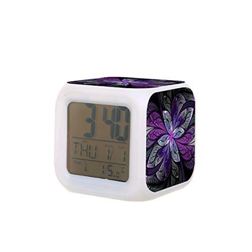 La Chanteuse Violett - Reloj despertador eléctrico con luz nocturna para dormir y sonido con máquina de detección de temperatura con 7 colores de luces