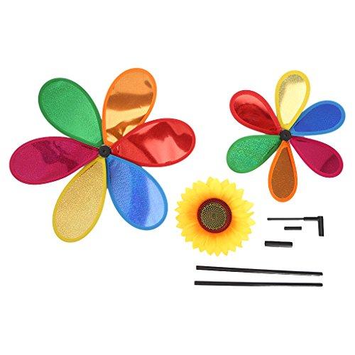 Sac de rangement AXSWER éolienne Moulin à vent à paillettes double couche Tournesol Moulin à vent éolien Décoration de maison, jardin, cour, décoration de jardin
