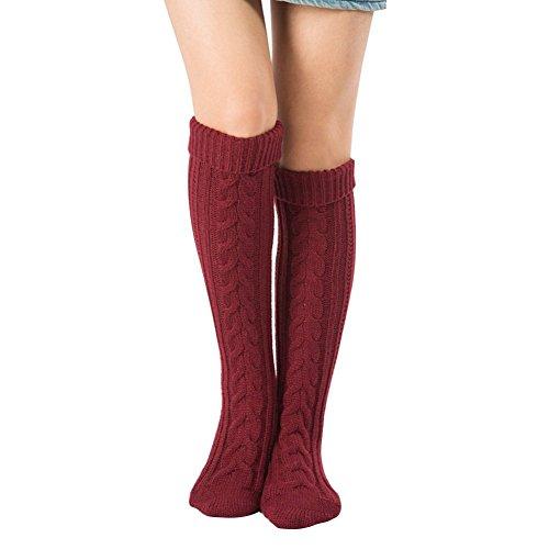 Kootk 1 Paar Damen Overknee Überknie Kniestrümpfe Strick Mädchen Hold Up Strümpfe Lange Knie Socken Stiefel Weinrot