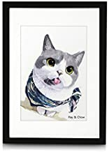 Ray & Chow A3 Black Picture Frame - Made to Display Pictures A4 with Mat or A3 Without Mat- Solid Wood- Glass Window- Wall Hanging