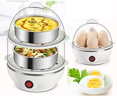 Amazon Choiced Double Layer Egg Boiler Electric Automatic Off 14 Egg Poacher for Steaming, Cooking, Boiling and Frying, (Multicolour)