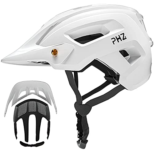 PHZ. Adult-Men-Women Mountain Helmet with Light - Mountain Road Bike Bicycle Helmet with Replacement Pads & Detachable Visor (Matte White, M(21.6-22.8 in/55-58cm))