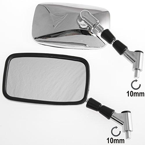 Specchietti Retrovisori Rettangolari Coppia Specchi Moto Scooter Cromati M10
