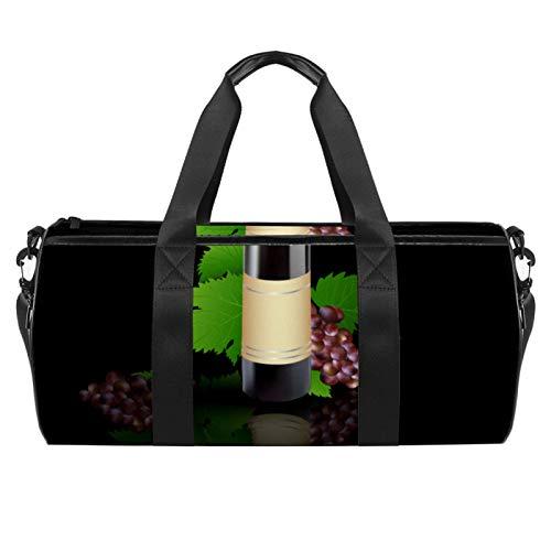 Bolsa de deporte redonda con correa de hombro desmontable y fondo de uva y vino tinto y uva, bolsa de entrenamiento para mujeres y hombres