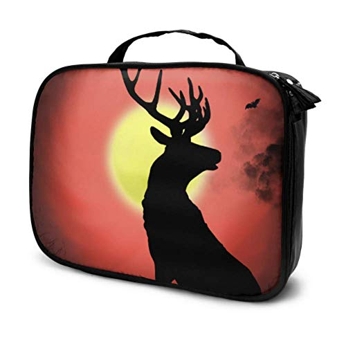 Black Deer Digital Painting Travel Girly Makeup Bag Cosmetic Bag Small Makeup Pouch Small Multifunction Printed Pouch for Women