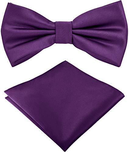 Helido Fliege für Herren mit Einstecktuch, 12 verschiedenfarbige Accessoires-Sets passend zu Hemd und Anzug oder Smoking + Geschenkbox (Violett)