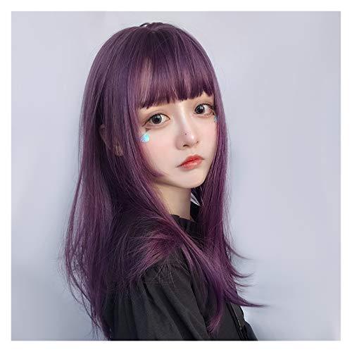 ZHIHUI Pelucas De Cabello Mujeres Wig Bangs Longitud Media Pelucas Completas Rectas del Pelo sintético Cosplay Pelucas Chicas Pelucas Mujer (Color : Purple)