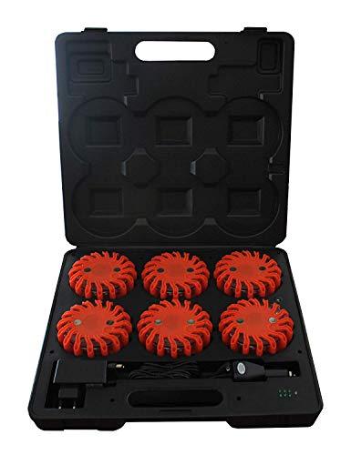 Pal Ferretería Industrial Maletín Advertencia 6 balizas señalizadoras Naranjas de 16 Leds con Cargador de Coche