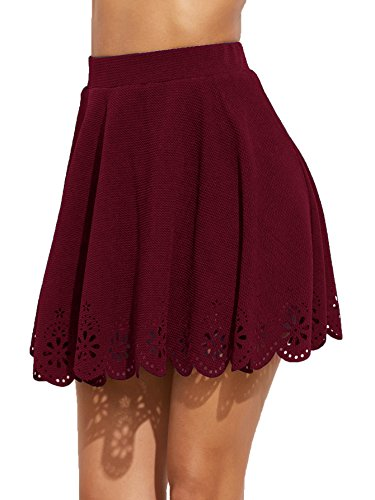 SheIn Women's Basic Solid Cutout Scallop Hem Flared Mini Skater Skirt Small Burgundy