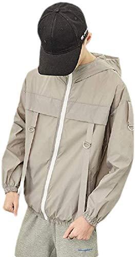 Avis N Men Solid Color Zip Front Hoodies Lightweight Windbreaker Loose Jacket