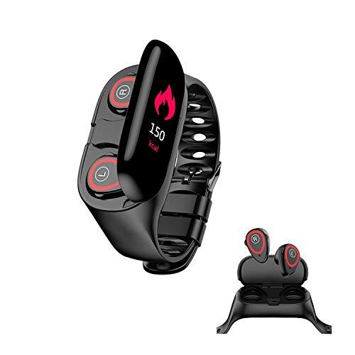 HQHOME ✔ 2 en 1 Pulsera Actividad Inteligente con Auriculares inalámbricos Bluetooth, Impermeable IP67 Smartband con Pulsómetro y Tensiómetro, Monitor de Sueño Podómetro para Mujer Hombre Niños