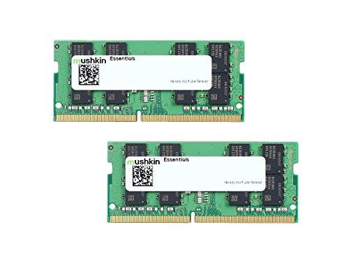 Mushkin Essentials – DDR4 Laptop DRAM – 32GB (2x16GB) SODIMM Memory Kit – 2666MHz (PC4-21300) CL-19 – 260-pin 1.2V Notebook RAM – Dual-Channel – Low-Voltage – (MES4S266KF16GX2)