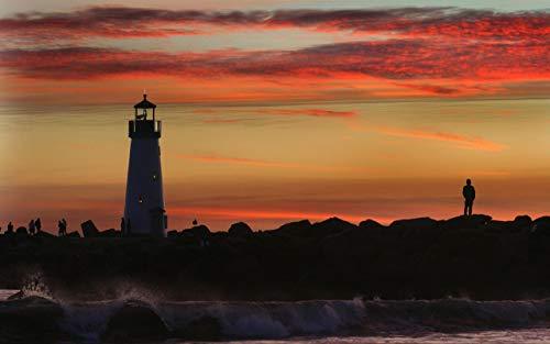 Diamond Painting Kit Sea Sunset Lighthouse Home 40X50Cm Round